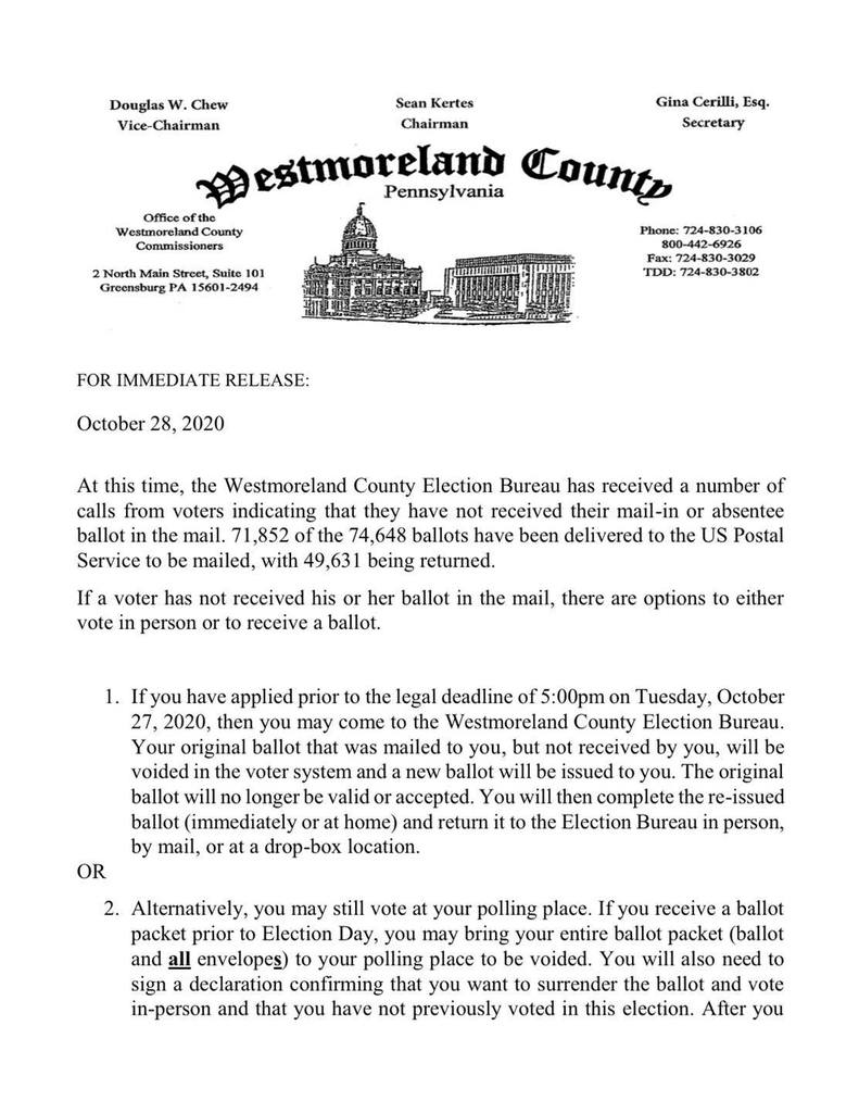 letter saying no idea where the ballots are