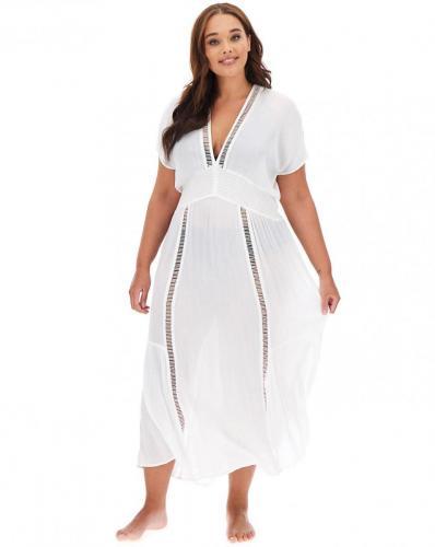 Beachwear Embroidered Insert Maxi Kaftan white £28.00