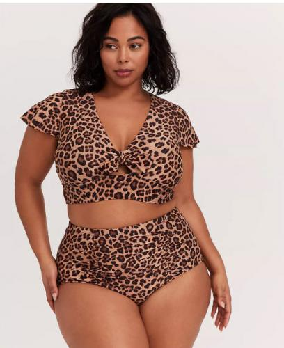 LEOPARD TIE FRONT WIRELESS SWIM CROP TOP $41.65/$59.50